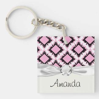 bold pink white black diamond damask pattern keychain