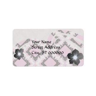 bold pink white black diamond damask pattern custom address label