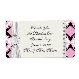bold pink white black diamond damask pattern shipping label