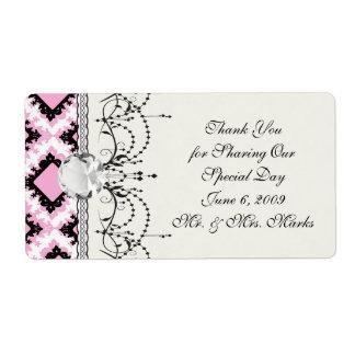 bold pink white black diamond damask pattern shipping labels