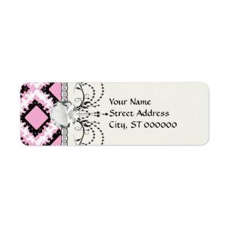 bold pink white black diamond damask pattern return address labels