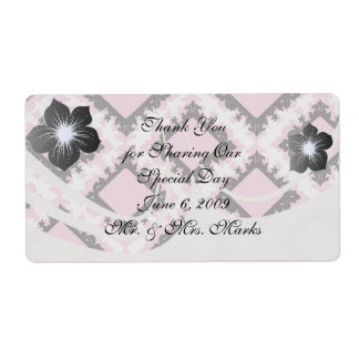 bold pink white black diamond damask pattern personalized shipping label