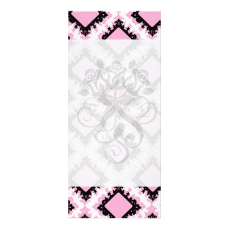 bold pink white black diamond damask pattern rack cards