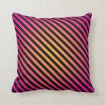 Bold Pink Yellow Black Diagonal Stripes Pillows