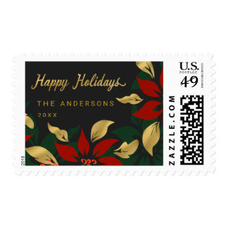 Bold Poinsettia Faux Gold Foil Botanical Holiday Postage