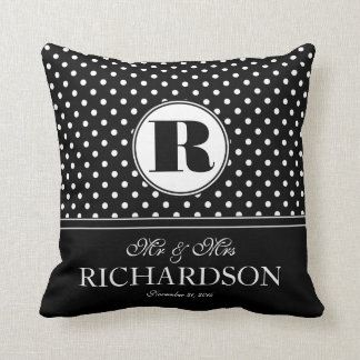 Bold Polka Dots Mr and Mrs Newlywed Monogram Throw Pillow