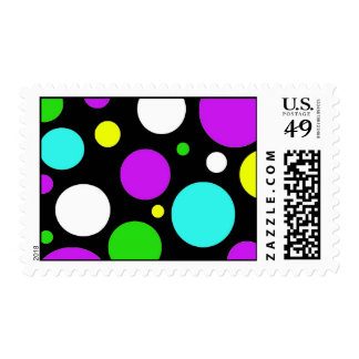 Bold Polka Dots Purple Teal Green Black Yellow Postage
