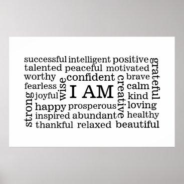 EatGreenFood Bold Positive Thinking I AM Affirmations Poster