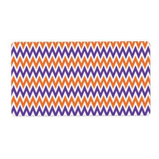 Bold Purple and Orange Chevron Zigzag Pattern Label