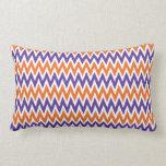 Bold Purple and Orange Chevron Zigzag Pattern Throw Pillows