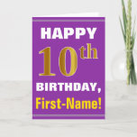 [ Thumbnail: Bold, Purple, Faux Gold 10th Birthday W/ Name Card ]
