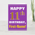 [ Thumbnail: Bold, Purple, Faux Gold 11th Birthday W/ Name Card ]
