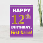 [ Thumbnail: Bold, Purple, Faux Gold 12th Birthday W/ Name Card ]