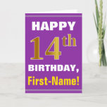 [ Thumbnail: Bold, Purple, Faux Gold 14th Birthday W/ Name Card ]
