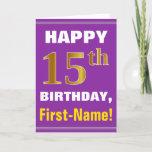 [ Thumbnail: Bold, Purple, Faux Gold 15th Birthday W/ Name Card ]