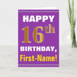 [ Thumbnail: Bold, Purple, Faux Gold 16th Birthday W/ Name Card ]