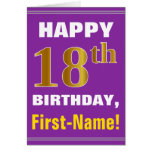 [ Thumbnail: Bold, Purple, Faux Gold 18th Birthday W/ Name Card ]