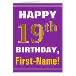 [ Thumbnail: Bold, Purple, Faux Gold 19th Birthday W/ Name Card ]