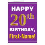 [ Thumbnail: Bold, Purple, Faux Gold 20th Birthday W/ Name Card ]