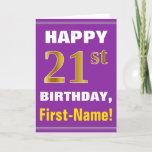 [ Thumbnail: Bold, Purple, Faux Gold 21st Birthday W/ Name Card ]
