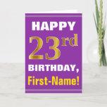 [ Thumbnail: Bold, Purple, Faux Gold 23rd Birthday W/ Name Card ]