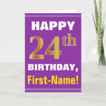 [ Thumbnail: Bold, Purple, Faux Gold 24th Birthday W/ Name Card ]