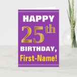 [ Thumbnail: Bold, Purple, Faux Gold 25th Birthday W/ Name Card ]