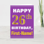 [ Thumbnail: Bold, Purple, Faux Gold 26th Birthday W/ Name Card ]