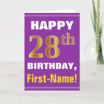 [ Thumbnail: Bold, Purple, Faux Gold 28th Birthday W/ Name Card ]