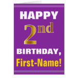 [ Thumbnail: Bold, Purple, Faux Gold 2nd Birthday W/ Name Card ]