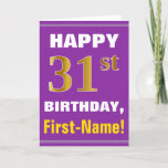 [ Thumbnail: Bold, Purple, Faux Gold 31st Birthday W/ Name Card ]