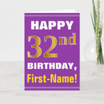 [ Thumbnail: Bold, Purple, Faux Gold 32nd Birthday W/ Name Card ]