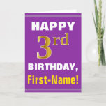 [ Thumbnail: Bold, Purple, Faux Gold 3rd Birthday W/ Name Card ]