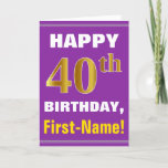 [ Thumbnail: Bold, Purple, Faux Gold 40th Birthday W/ Name Card ]