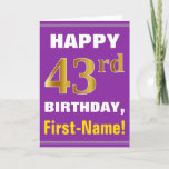 [ Thumbnail: Bold, Purple, Faux Gold 43rd Birthday W/ Name Card ]
