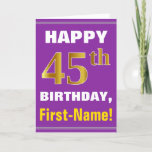[ Thumbnail: Bold, Purple, Faux Gold 45th Birthday W/ Name Card ]