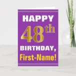 [ Thumbnail: Bold, Purple, Faux Gold 48th Birthday W/ Name Card ]