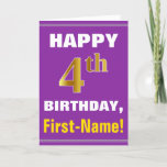 [ Thumbnail: Bold, Purple, Faux Gold 4th Birthday W/ Name Card ]