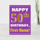 [ Thumbnail: Bold, Purple, Faux Gold 50th Birthday W/ Name Card ]