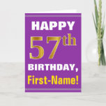 [ Thumbnail: Bold, Purple, Faux Gold 57th Birthday W/ Name Card ]