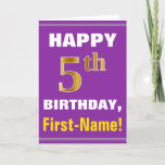 [ Thumbnail: Bold, Purple, Faux Gold 5th Birthday W/ Name Card ]