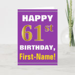 [ Thumbnail: Bold, Purple, Faux Gold 61st Birthday W/ Name Card ]