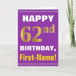 [ Thumbnail: Bold, Purple, Faux Gold 62nd Birthday W/ Name Card ]