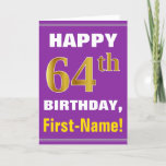 [ Thumbnail: Bold, Purple, Faux Gold 64th Birthday W/ Name Card ]
