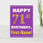 [ Thumbnail: Bold, Purple, Faux Gold 71st Birthday W/ Name Card ]