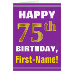 [ Thumbnail: Bold, Purple, Faux Gold 75th Birthday W/ Name Card ]