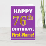 [ Thumbnail: Bold, Purple, Faux Gold 76th Birthday W/ Name Card ]