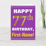 [ Thumbnail: Bold, Purple, Faux Gold 77th Birthday W/ Name Card ]