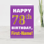 [ Thumbnail: Bold, Purple, Faux Gold 78th Birthday W/ Name Card ]