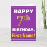 [ Thumbnail: Bold, Purple, Faux Gold 7th Birthday W/ Name Card ]